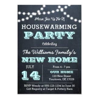 Chalkboard Lights Aqua Housewarming Invitations