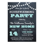 Chalkboard Lights Aqua Housewarming Invitations