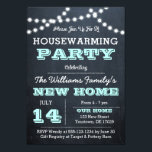"Chalkboard Lights Aqua Housewarming Invitations<br><div class=""desc"">This Casual Chic invitation is perfect for any housewarming party. Each item is fully customizable to say just what you want.</div>"