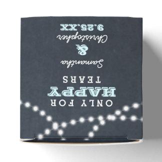 Chalkboard Lights Aqua Mini Wedding Tissue Boxes