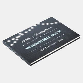 Chalkboard Lights Aqua Wedding Guest Book