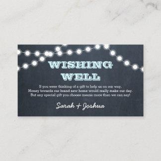Chalkboard Lights Aqua Wedding Wishing Well Enclosure Card