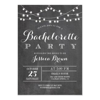 Chalkboard Lights Bachelorette Party Card