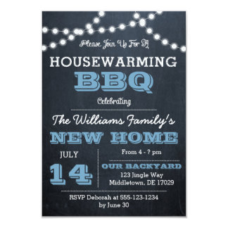 Chalkboard Lights Blue Housewarming Invitations