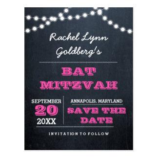Chalkboard Lights Dark Pink Bat Mitzvah Save Date Postcard