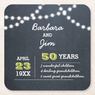 Chalkboard Lights Golden Anniversary Square Paper Coaster