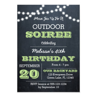Chalkboard Lights Green All Occasion Invitation