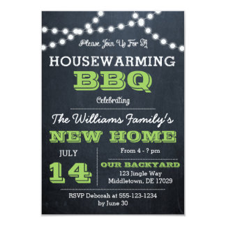 Chalkboard Lights Green Housewarming Invitations