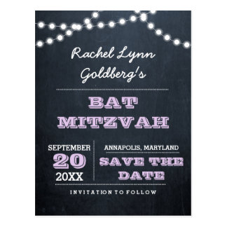 Chalkboard Lights Lilac Bat Mitzvah Save the Date Postcard