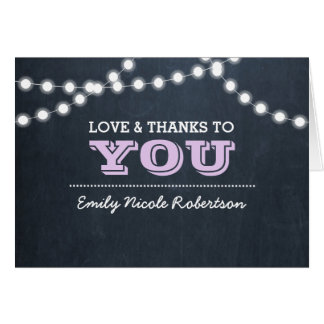 Chalkboard Lights Lilac Confirmation Thank You Card