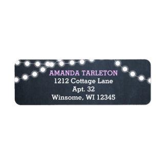 Chalkboard Lights Lilac Personalized Label