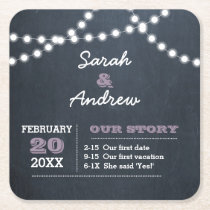 Chalkboard Lights Lilac Personalized Wedding Square Paper Coaster