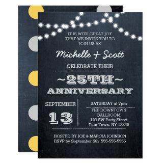 Chalkboard Lights Silver 25th Anniversary Invite