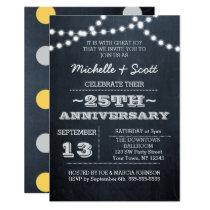 Chalkboard Lights Silver 25th Anniversary Sm Invitation