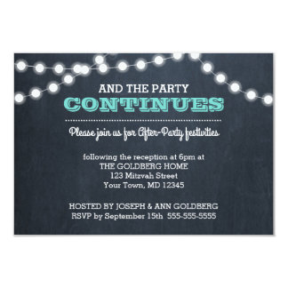 Chalkboard Lights Teal After Party Invitation Card