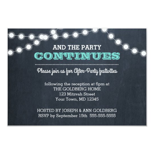 Invitation For Reception After The Wedding: Chalkboard Lights Teal After Party Invitation Card