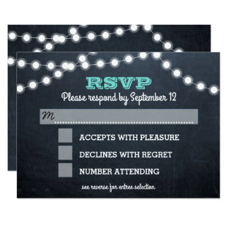 Chalkboard Lights Teal Bat Mitzvah Entree RSVP Card