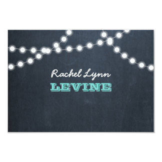 Chalkboard Lights Teal Bat Mitzvah Note Card