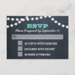 Chalkboard Lights Teal Bat Mitzvah RSVP Card