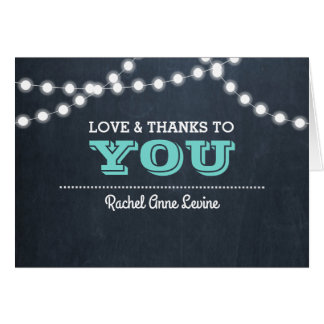 Chalkboard Lights Teal Bat Mitzvah Thank You Note Card