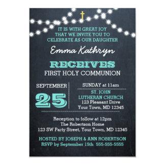 Chalkboard Lights Teal First Communion Invitation