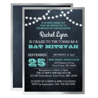 Chalkboard Lights Teal Foil Border Bat Mitzvah Card