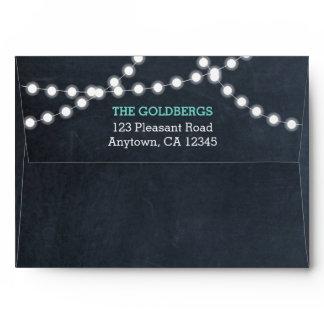 Chalkboard Lights Teal Personalized Envelope