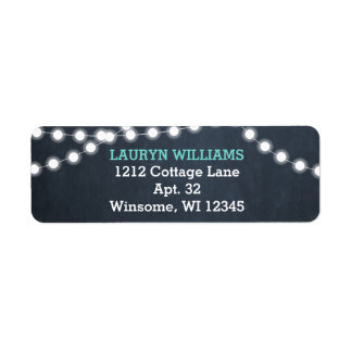 Chalkboard Lights Teal Personalized Label