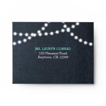 Chalkboard Lights Teal RSVP Envelopes