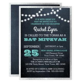 Chalkboard Lights Teal Silver Texture Bat Mitzvah Card