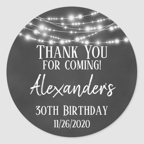 Chalkboard Lights Thank You Birthday Favor Tags