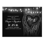 Chalkboard lights tree save the date postcards