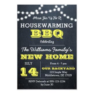 Chalkboard Lights Yellow Housewarming Invitations