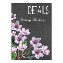 Chalkboard Lilac Branches Watercolor Directions Personalized Invitation