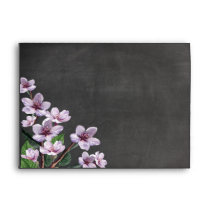 Chalkboard Lilac Branches Watercolor Flowers Envelope