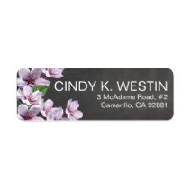 Chalkboard Lilac Branches Watercolor Flowers Custom Return Address Label