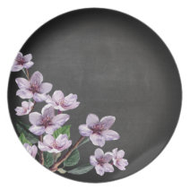 Chalkboard Lilac Branches Watercolor Flowers Plates