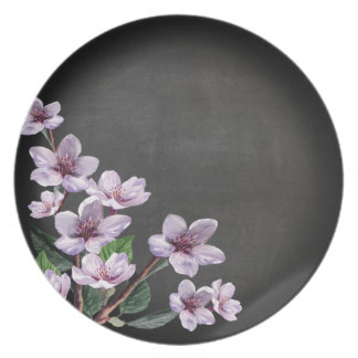 Chalkboard Lilac Branches Watercolor Flowers Plate