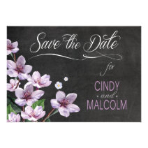 Chalkboard Lilac Branches Watercolor Save the Date Announcements