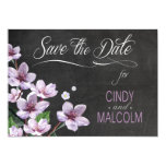 "Chalkboard Lilac Branches Watercolor Save the Date 5"" X 7"" Invitation Card"
