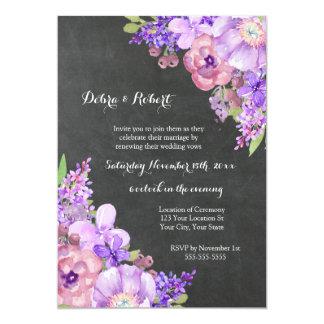 Chalkboard Lilac Purple Flowers Vow Renewal Card