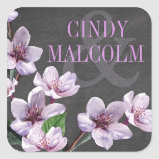 Chalkboard Lilac Watercolor Flowers Favor Square Sticker