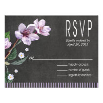 Chalkboard Lilac Watercolor Flowers RSVP Invitations