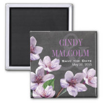 Chalkboard Lilac Watercolor Flowers save the date Refrigerator Magnets