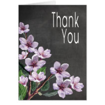 Chalkboard Lilac Watercolor Flowers Thank You Greeting Cards