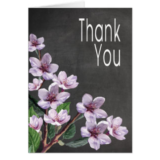 Chalkboard Lilac Watercolor Flowers Thank You Card