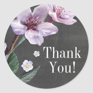 Chalkboard Lilac Watercolor Flowers Thank You Classic Round Sticker