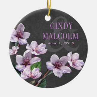 Chalkboard Lilac Watercolor Flowers Wedding Ceramic Ornament