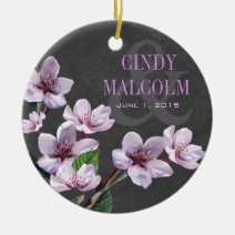 Chalkboard Lilac Watercolor Flowers Wedding Christmas Ornament