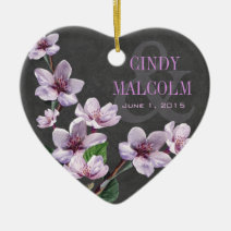 Chalkboard Lilac Watercolor Flowers Wedding Christmas Tree Ornaments